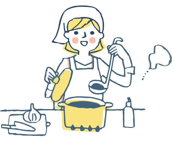 調理をしている女性のイラスト